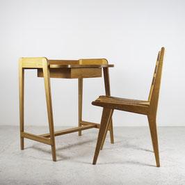 Petit bureau et sa chaise en sycomore, 1950