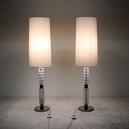 Paire de lampes en verre et métal chromé, 1970