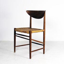 Paire de chaises en bois clair avec assise en bambou, 1950