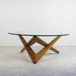 Table basse en chêne et sa dalle de verre, 1950