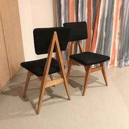 """Paire de chaises """"compas"""" en chêne, 1960"""