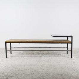 Table basse en chêne, verre et acier, 1970