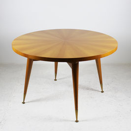 Table à manger en sycomore et laiton doré, 1960