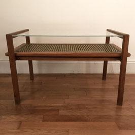 Table basse en cannage, bois et verre, 1950