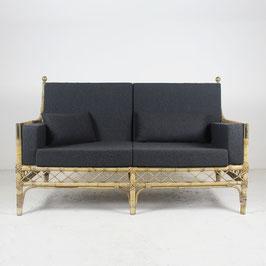 Canapé en bambou, rotin et laiton doré, 1960