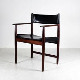 Paire de fauteuils danois en cuir et palissandre, 1970