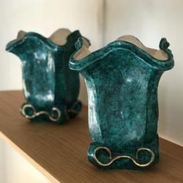 Paire de vases verts en céramique de Vallauris, circa 1950