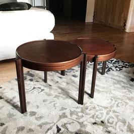Paire de tables rondes en acajou, 1960