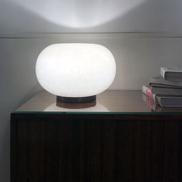Lampe à poser en verre opalin bullé, 1970