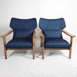 Paire de fauteuils en chêne blond, 1960