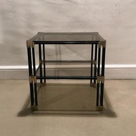 Paire de petites tables en métal noir, laiton et verre fumé, 1970