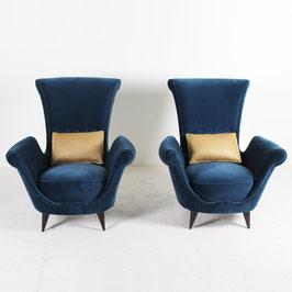 Paire de fauteuils en velours bleu, 1950