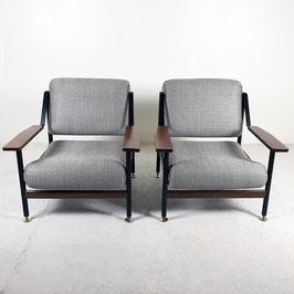 Paire de fauteuils italien en métal et noyer, 1960