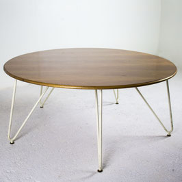 Table basse ronde en bois blond, 1950