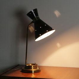 Lampe en métal perforé et laiton doré, 1950