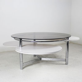 Table basse en métal chromé, stratifié et verre, 1970