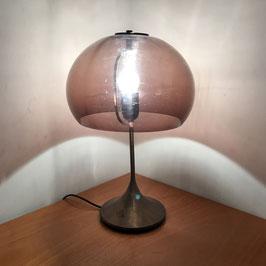 Lampe de table en laiton et Plexiglas fumé, 1970
