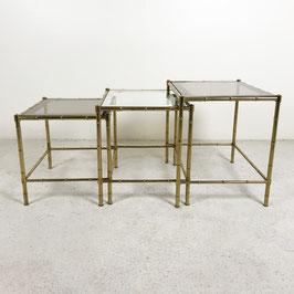 Tables gigognes en verre et laiton doré, 1970