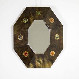Miroir italien en parchemin vernis, 1970