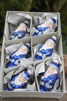 Miniatur Weihnachtsmännchen Blau/Silber