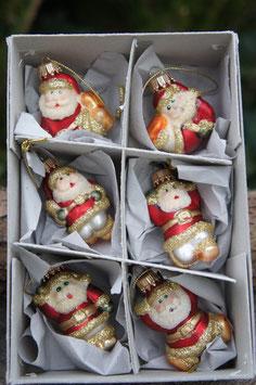 Miniatur Weihnachtsmännchen Rot/Gold Glimmer