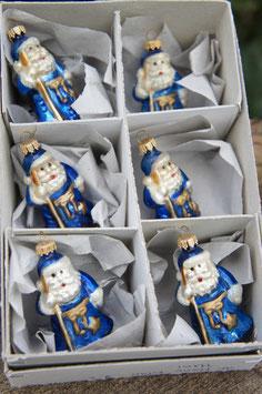 Miniatur Weihnachtsmännchen Blau/Gold