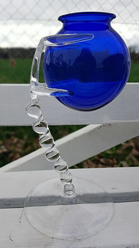 Absolute Liebhaber Unikat Vase Blauer Korpus mit Kristall Ständer