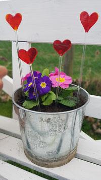 Mini Blumenstab mit rotem Herz