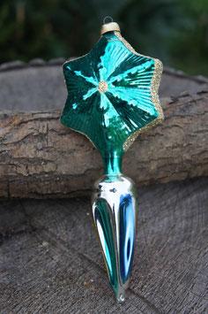 Stern Grün mit Eindruck an der Spitze versilbert Handbemalt sowie Glimmer