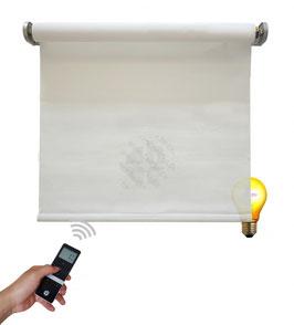 Elektrisches Beschattungsrollo, inkl. Akku-Motor, Farbcode: 3C301, weiß, 3% Gewebe-Öffnungsrate