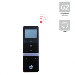 Heicko 5-Kanal Handfunksender mit Display, inkl. Batterie, 433,92 MHz, Timerfunktion, schwarz, Funkprotokoll G2