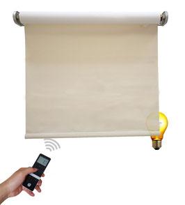 Elektrisches Beschattungsrollo, inkl. Motor, Farbcode: 3C702, beige/weiß, 3% Gewebe-Öffnungsrate