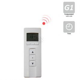 Heicko 4-Kanal Design Handfunksender mit Display / Zeitschaltuhr, inkl. Batterie, 433,92 MHz, weiß/Edelstahl Select