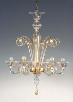 Brahms lampadario in vetro di Murano colore cristallo con oro della vetreria Formiaglass.net