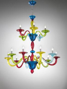 Morettina lampadario lineare in vetro di Murano moderno dai vivaci colori