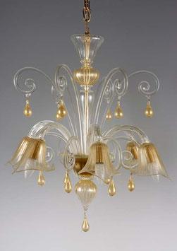 Bach lampadario in vetro di Murano colore cristallo con oro della vetreria Formiaglass.net