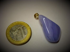 Chalcedon blau gebändert (Anhänger Silberöse)