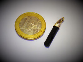 Turmalin schwarz (Schörl) / Anhänger Silberkappe