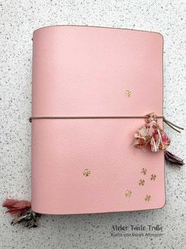 "rosa Traveler's Notebook ""goldene Blümchen"""