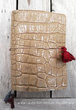 beige/silber Reptildesign Traveler's Notebook für Notizhefte und/oder Kalender
