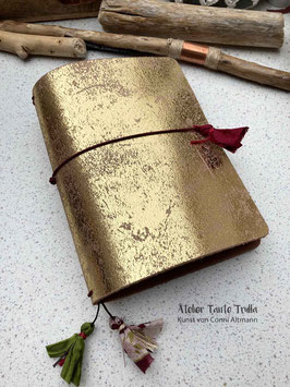 goldenes Traveler's Notebook à la Klimt für Notizhefte und/oder Kalender