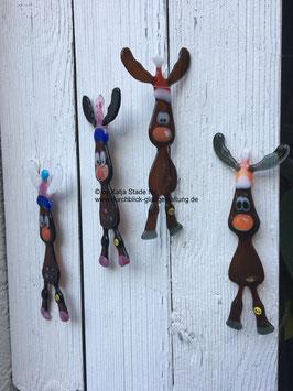 Knuffischer Elch, dunkelbraun, zum Hängen, frostfest