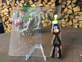 Glasschale mit Elch- moose- elk, fused glass