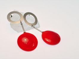 Ohrringe rote Scheibe - orecchini disco rosso