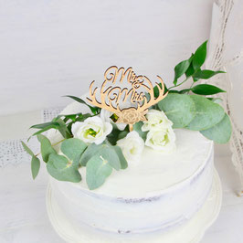 "Cake-Topper ""Geweih Mr. & Mrs."""