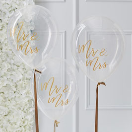 "Ballons ""Mr. & Mrs"" Gold 5 Stk."