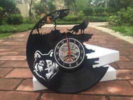 Schallplatten Vinyl Wanduhr Wolf