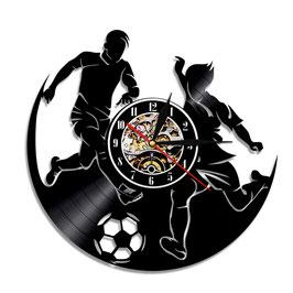 Schallplatten Vinyl Wanduhr Fussball