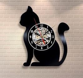 Schallplatten Vinyl Wanduhr Katze