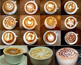 16 Stk. Cappuccino Schablonen mit Muster